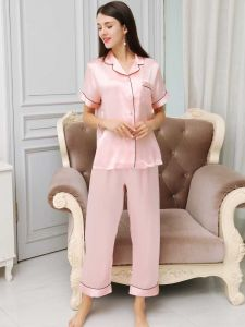 women short sleeve silk pajamas