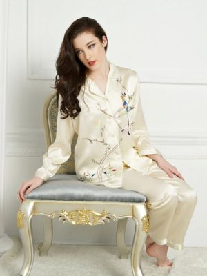 Silk Pajamas For Women, Hand-Made Embroidery