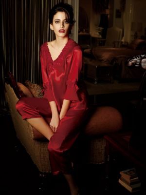Silk Pajamas set, V-Neck