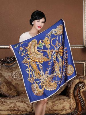 Blue Silk Square Scarf