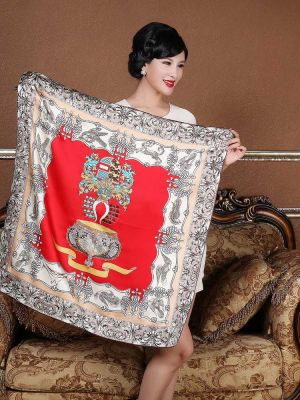 Women's Square Silk Scarves Gift Crown Pattern