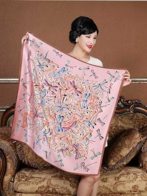 Dragonfly and Flower Printed 100% Silk Square Scarf