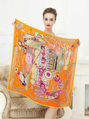 Orange Silk Scarves Square