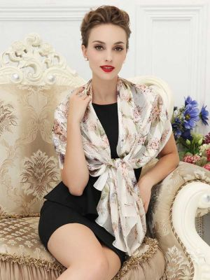Silk Painting Long Scarf Wrap Shawl