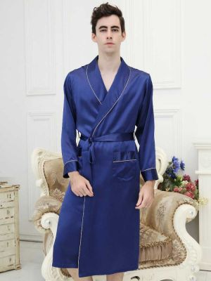 Blue silk Long Robe