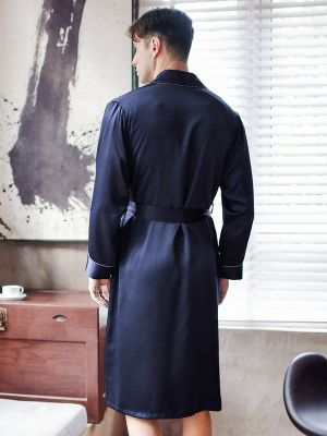 Navy Blue Men Silk Long Robe, Silk Bath Robe