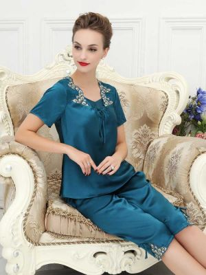 Blue Short Sleeve Silk Pajamas Set