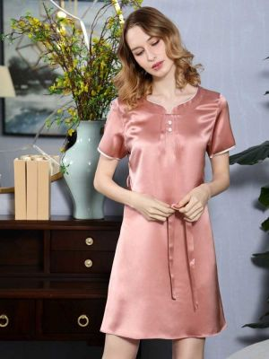 short sleeve silk nightgown