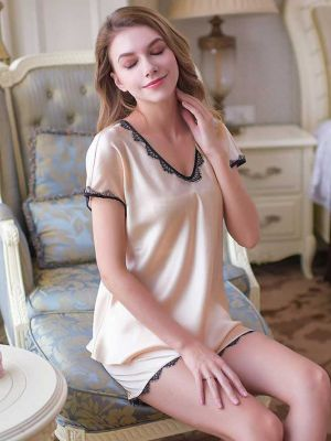 V-Neck Tee & Shorts Silk Pajama Set