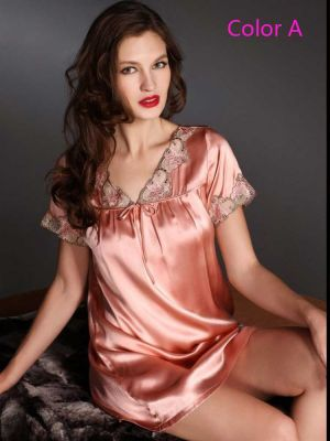 Embroidered lace Short-sleeved Nightgown Leisurewear