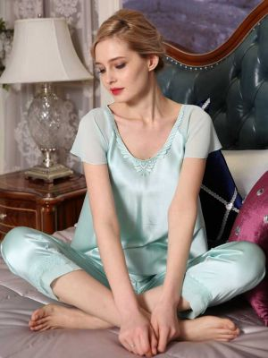 Comfy Embroidered Silk Pajamas Suit