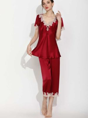 Women's Soft Silk Loungewear Pjs Set with Lace Trim