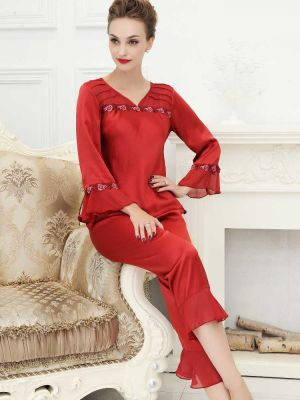 Red  Womens Silk Pajamas