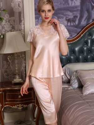 V-Neck Silk Pajamas Half Shorts Suit