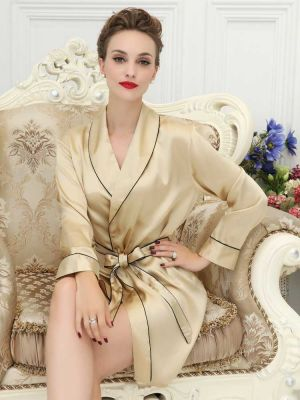 Champagne Short Silk Robe