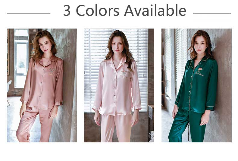 Silk Pajamas Set for Lady, Silk Sleepwear for Women