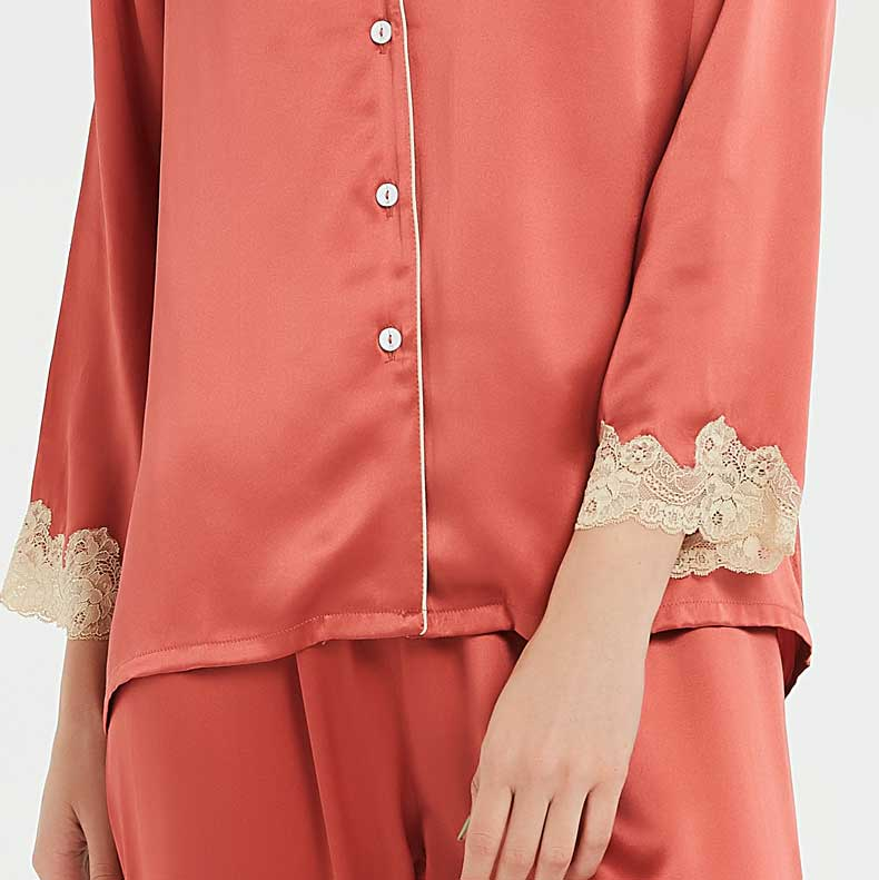 silk pajamas, lace silk pajamas
