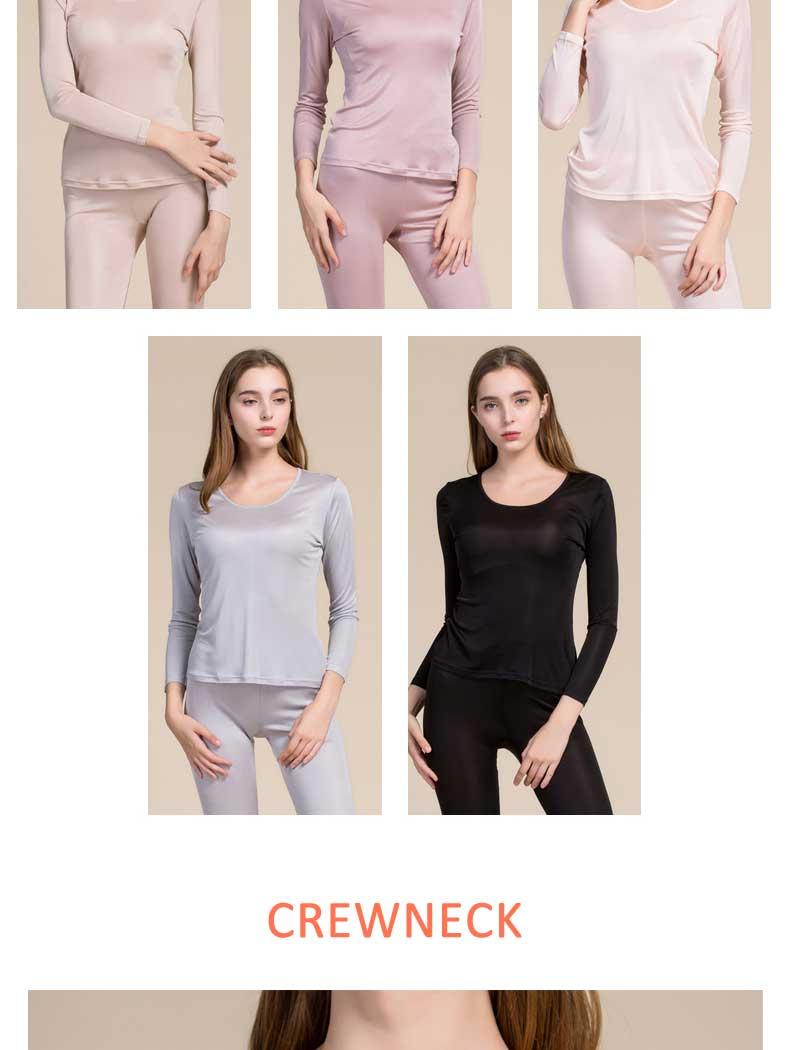 crew neck silk underwear for women