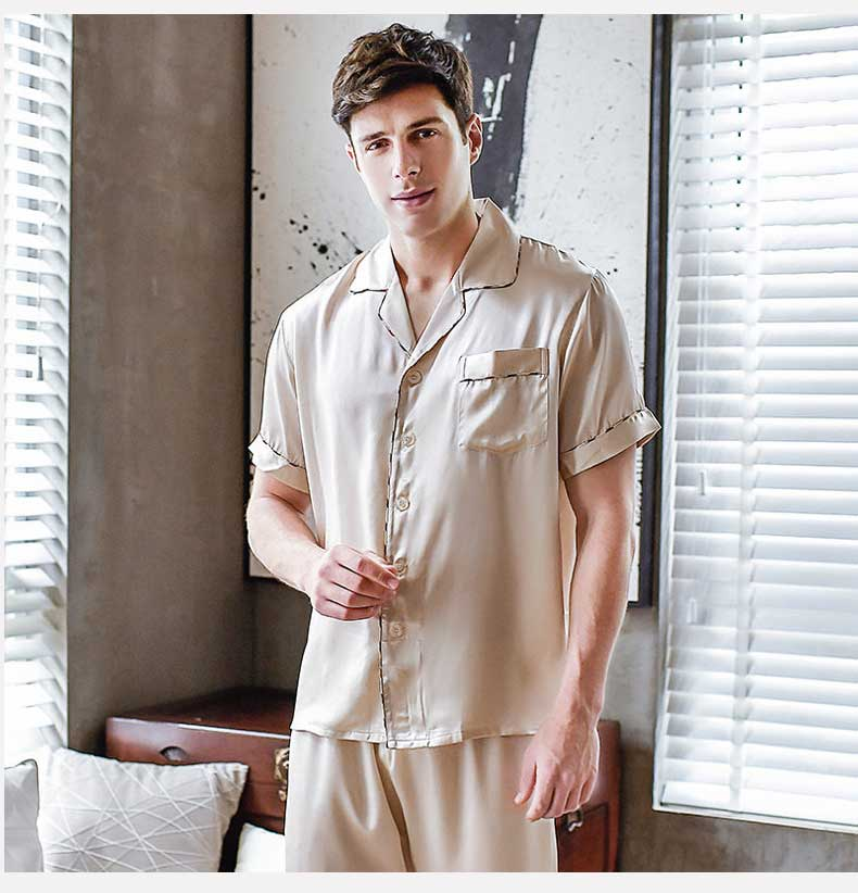Men Short Sleeve Pajamas, Silk Pajamas